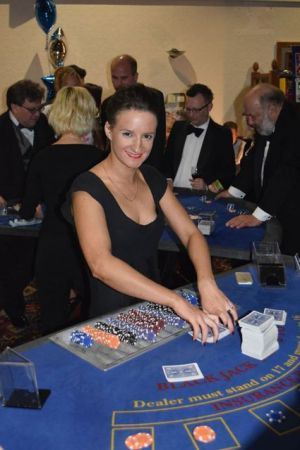 Croupier with a Blackjack Table Hire